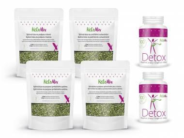 KetoMix Detox balíček – 2x Detox kapsle + Bylinná kúra na podporu hubnutí – sypaná směs