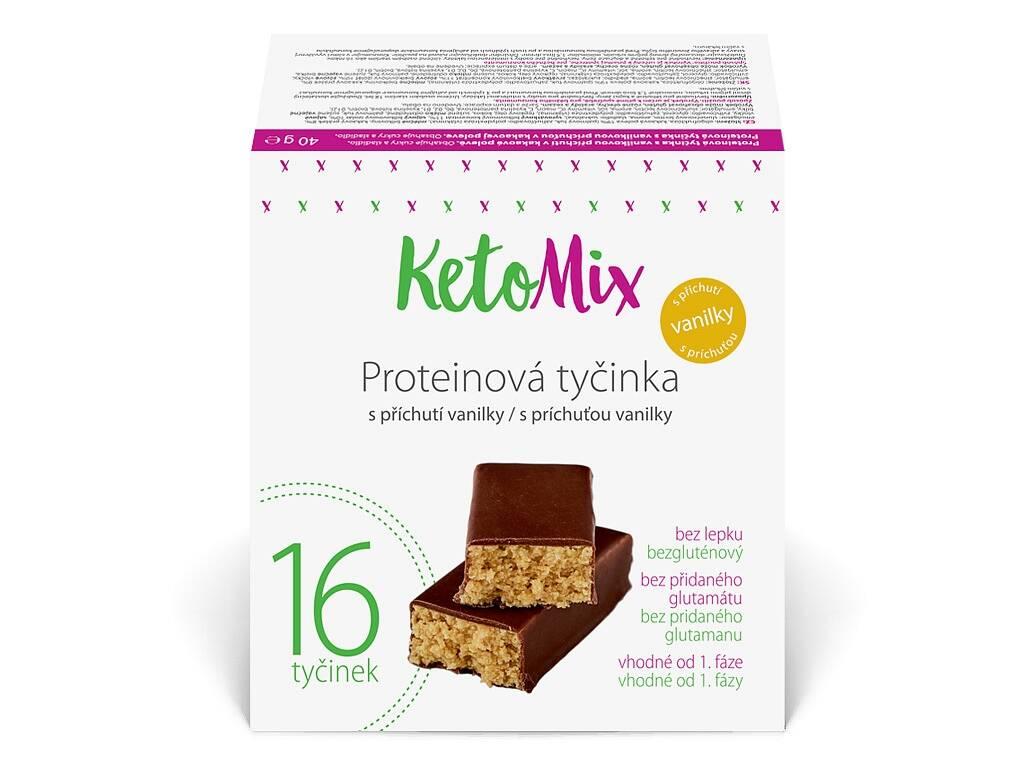 KetoMix Proteínové tyčinky s vanilkovou príchuťou 40g, 16ks