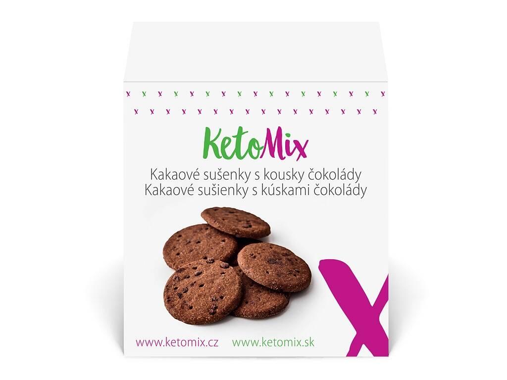 KetoMix Kakaové sušienky s kúskami čokolády (30 sušienok) 225 g