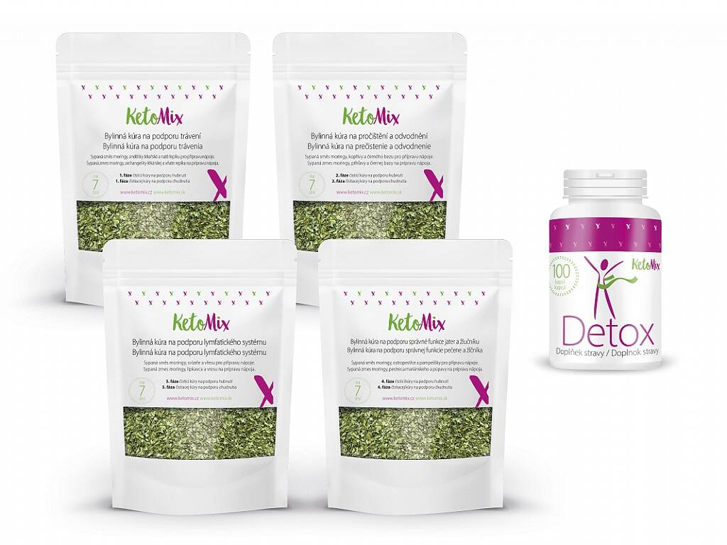 KetoMix Detox balíček – Detox kapsle + Bylinná kúra na podporu hubnutí – sypaná směs