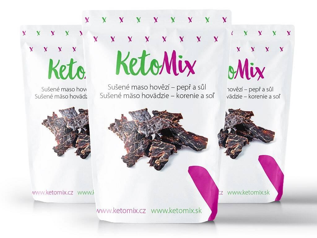 KetoMix Sušené mäso hovädzie – korenie a soľ (3 porcie) 90 g