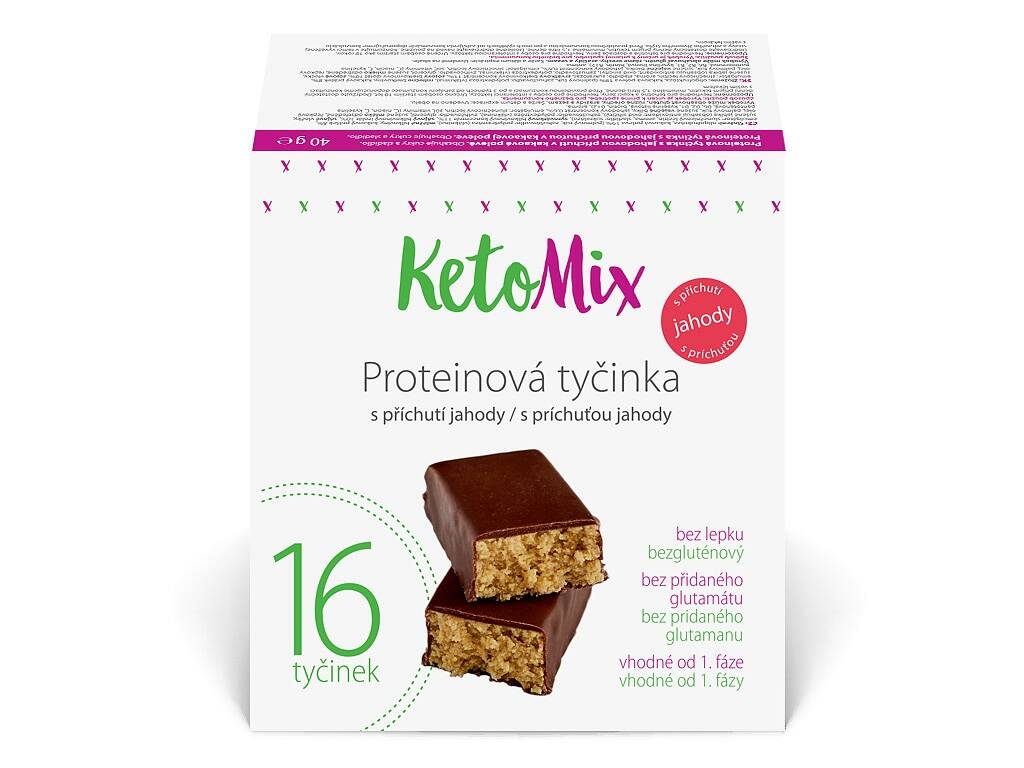 KetoMix Proteínové tyčinky s jahodovou príchuťou 16 x 40 g