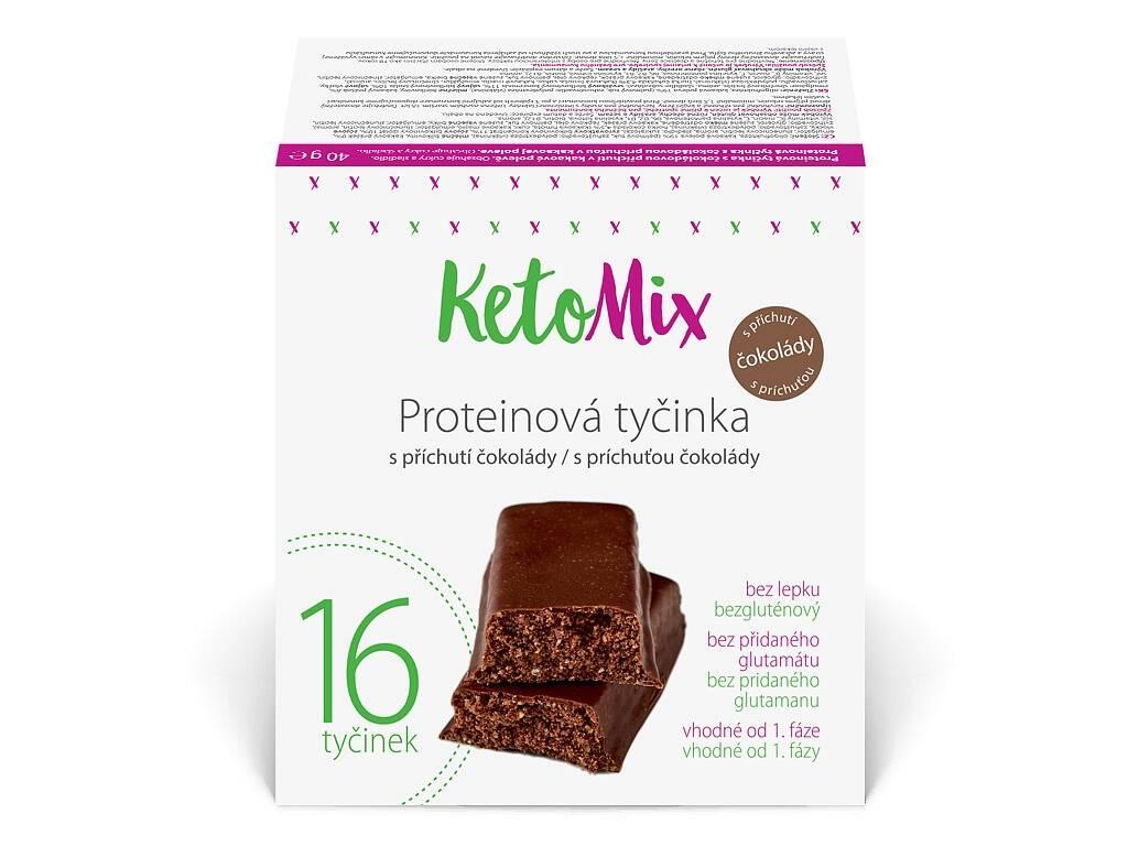 KetoMix Proteínové tyčinky s čokoládovou príchuťou 40g, 16ks